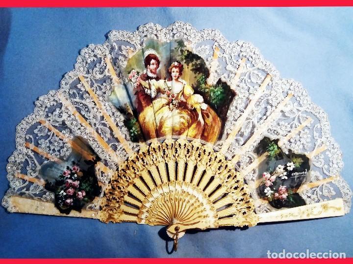 Antigüedades: Abanico de Carmen Monreal,pais encaje,pintado a mano a gouache y varillaje de marfil tallado.Firmado - Foto 9 - 159636302