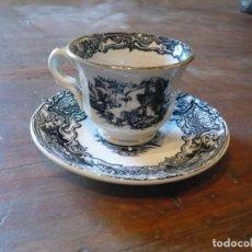 Antigüedades: TAZA I PLATO DE CAFÉ DE LA CARTUJA DE SEVILLA PICKMAN CON RIBETE DE ORO. Lote 242031590