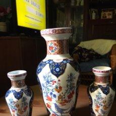 Antigüedades: 3 ANTIGUOS JARRONES DE PORCELANA CHINA, SELLADOS, AÑOS 70. Lote 159649445