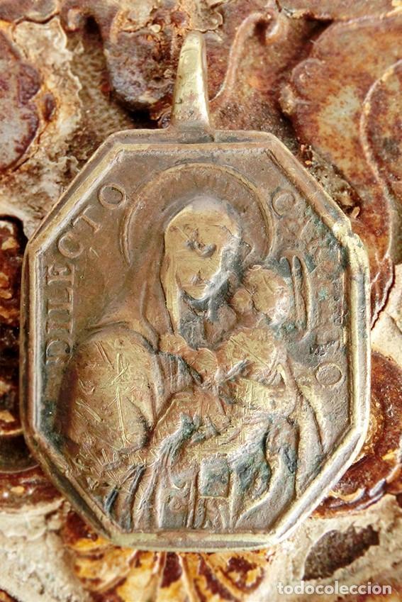 ANTIGUA MEDALLA DE BRONCE - DILECTO CARMELO - VIRGEN DEL CARMEN - SAN ANTONIO DE PADUA - S.XVIII - (Antigüedades - Religiosas - Medallas Antiguas)