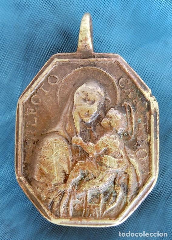 Antigüedades: ANTIGUA MEDALLA DE BRONCE - DILECTO CARMELO - VIRGEN DEL CARMEN - SAN ANTONIO DE PADUA - S.XVIII - - Foto 8 - 159652058