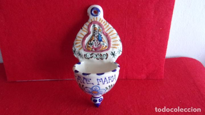 Antigüedades: bonita benditera,ceramica,buen estado - Foto 2 - 159663154