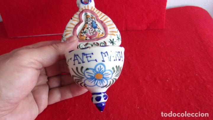 Antigüedades: bonita benditera,ceramica,buen estado - Foto 3 - 159663154