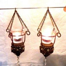 Antiques - Pareja de lámparas votivas, Candelabros Art Nouveau, Candelabros modernistas - 159676790