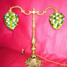 Antigüedades: ESPECTACULAR LAMPARA ANTIGUA EN BRONCE Y RACIMOS UVAS CRISTAL MURANO IDEAL BODEGAS CASAS ETC. Lote 159707750