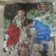 Antigüedades: CAÑAMAZO PARA BORDAR FABRA COATS ANCORA TAPIZ PUNTO DE CRUZ. Lote 159720442