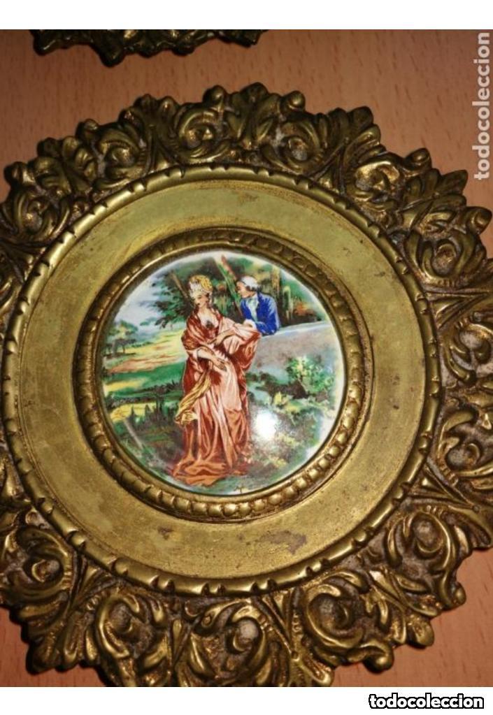 CORNUCOPIAS DE BRONCE CON ESMALTE A FUEGO (Antigüedades - Hogar y Decoración - Otros)