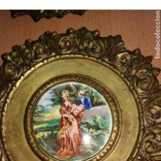 Antigüedades: CORNUCOPIAS DE BRONCE CON ESMALTE A FUEGO. Lote 159723162