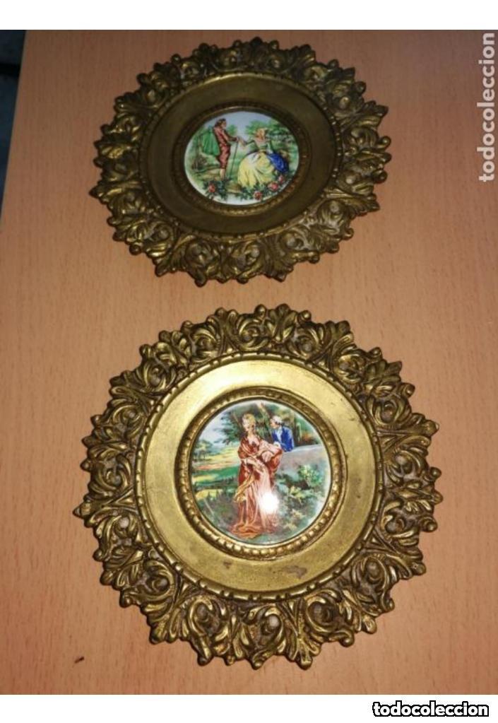Antigüedades: CORNUCOPIAS DE BRONCE CON ESMALTE A FUEGO - Foto 2 - 159723162