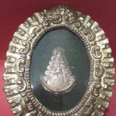 Antigüedades: RELICARIO DE CHAPA REPUJADA VIRGEN DEL ROCIO.. Lote 159728730