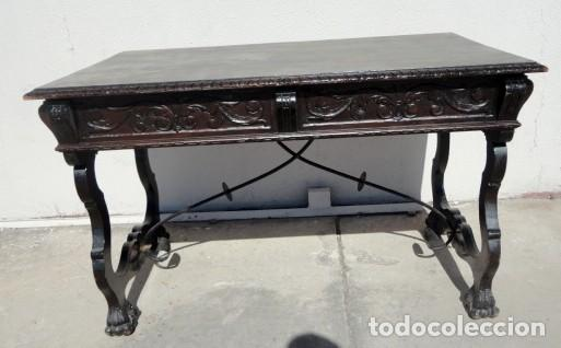 MESA DE DESPACHO ESTILO RENACIMIENTO EN MADERA TALLADA (Antigüedades - Muebles Antiguos - Escritorios Antiguos)