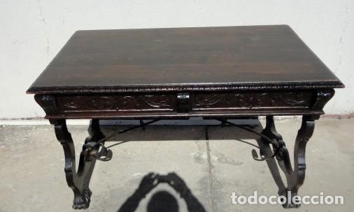 Antigüedades: Mesa de despacho estilo renacimiento en madera tallada - Foto 2 - 159740278