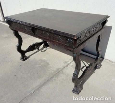 Antigüedades: Mesa de despacho estilo renacimiento en madera tallada - Foto 3 - 159740278