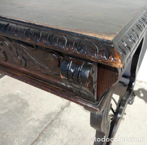 Antigüedades: Mesa de despacho estilo renacimiento en madera tallada - Foto 4 - 159740278