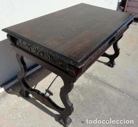 Antigüedades: Mesa de despacho estilo renacimiento en madera tallada - Foto 8 - 159740278