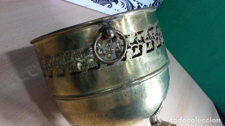 Antigüedades: BOTITO MACETERO GRANDE ANTIGUO DE METAL BRONCEADO - Foto 14 - 159768254