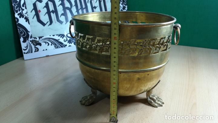 Antigüedades: BOTITO MACETERO GRANDE ANTIGUO DE METAL BRONCEADO - Foto 21 - 159768254