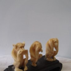 Antigüedades: ¡¡ MONOS MARFIL : LOS 3 MONOS MISTICOS. ( SABIOS ) CIRCA - 1880-1920. JAPON. !!. Lote 159833214