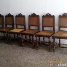 Antigüedades: SILLERIA DE ROBLE - SEIS SILLAS TALLADAS TORNEADAS - C. 1900 - RESTAURAR. Lote 163803472