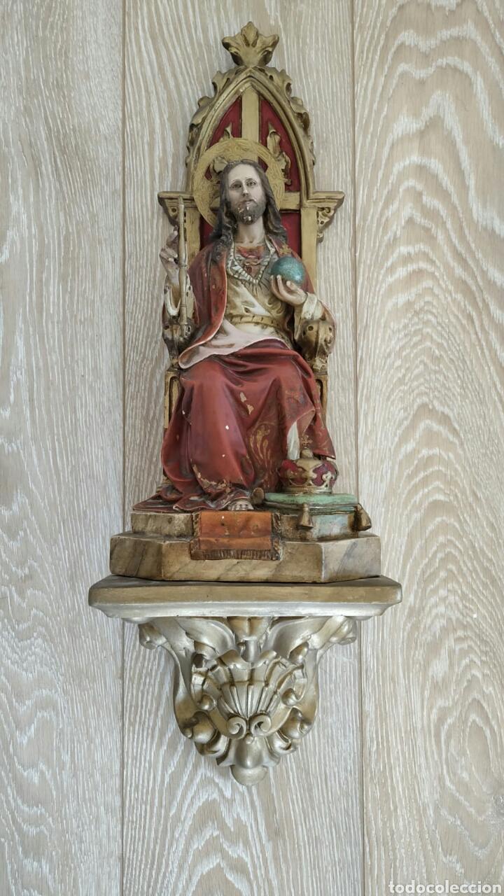 SAGRADO CORAZÓN ENTRONIZADO Y CON PEANA (Antigüedades - Religiosas - Varios)