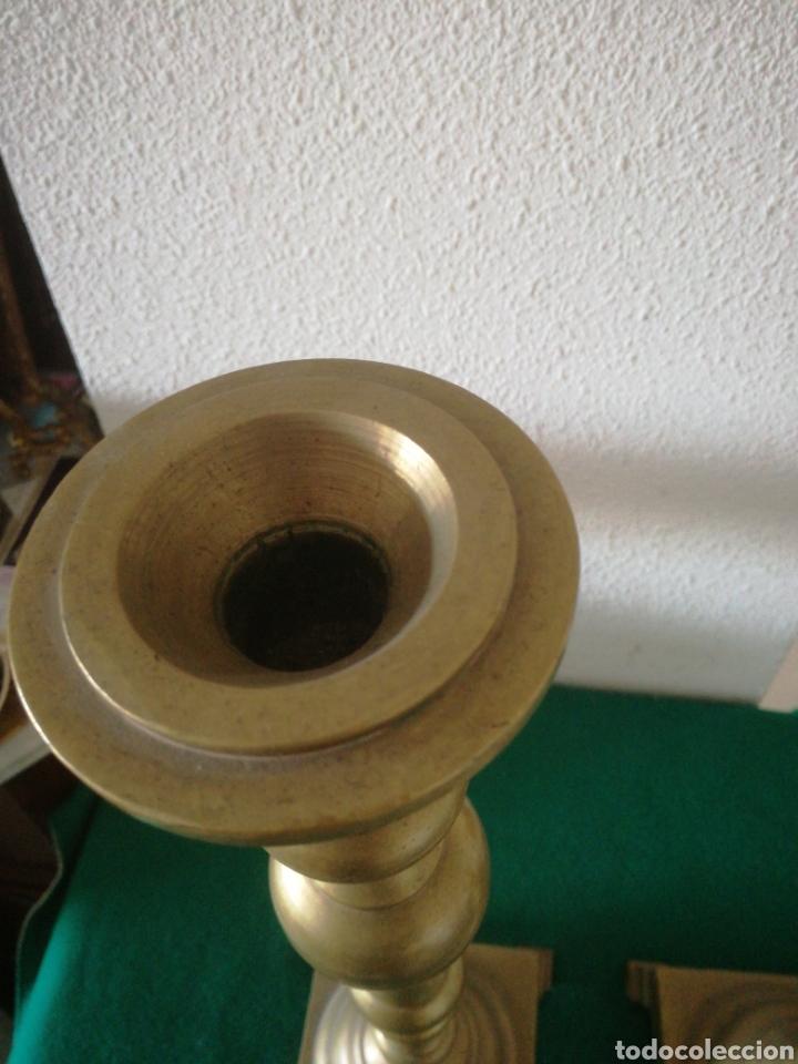 Antigüedades: PORTA VELAS DE BRONCE - Foto 3 - 159955612