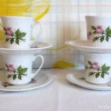Antigüedades: 4 TAZAS DE CAFE CON FLORES-PONTESA IRONSTONE-AÑOS 60-70. Lote 159956958