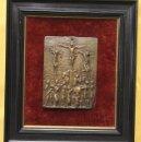 Antigüedades: BRONCE ESCENA CRUCIFIXION. SE PRESENTA ENMARCADO. Lote 159965088