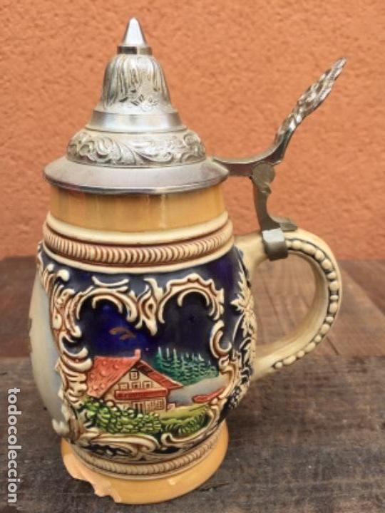 JARRA CERVEZA ALEMANA HANNOVER (Antigüedades - Porcelana y Cerámica - Alemana - Meissen)