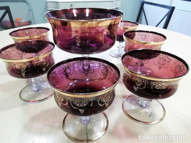 JUEGO MACEDONIA CRISTAL MURANO DECORADO ORO (Antigüedades - Cristal y Vidrio - Murano)