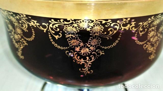 Antigüedades: Juego Macedonia Cristal Murano decorado oro - Foto 2 - 160009822