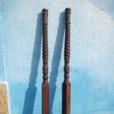 Antigüedades: LOTE DE 2 BARROTES DE MADERA MACIZA DE CAMA CON DOSEL, SIGLO XIX,IDEAL DECORACIONES.. Lote 160027014
