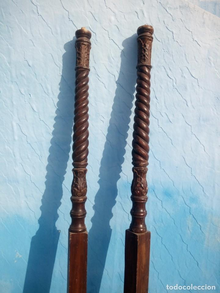 Antigüedades: lote de 2 barrotes de madera maciza de cama con dosel, siglo xix,ideal decoraciones. - Foto 2 - 160027014