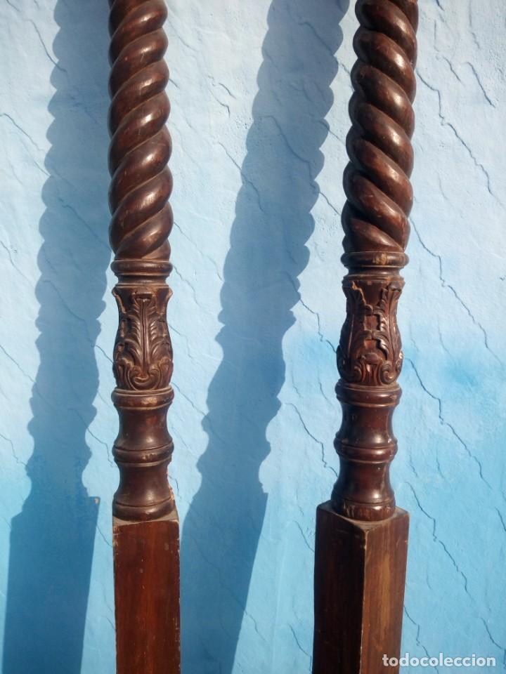 Antigüedades: lote de 2 barrotes de madera maciza de cama con dosel, siglo xix,ideal decoraciones. - Foto 3 - 160027014