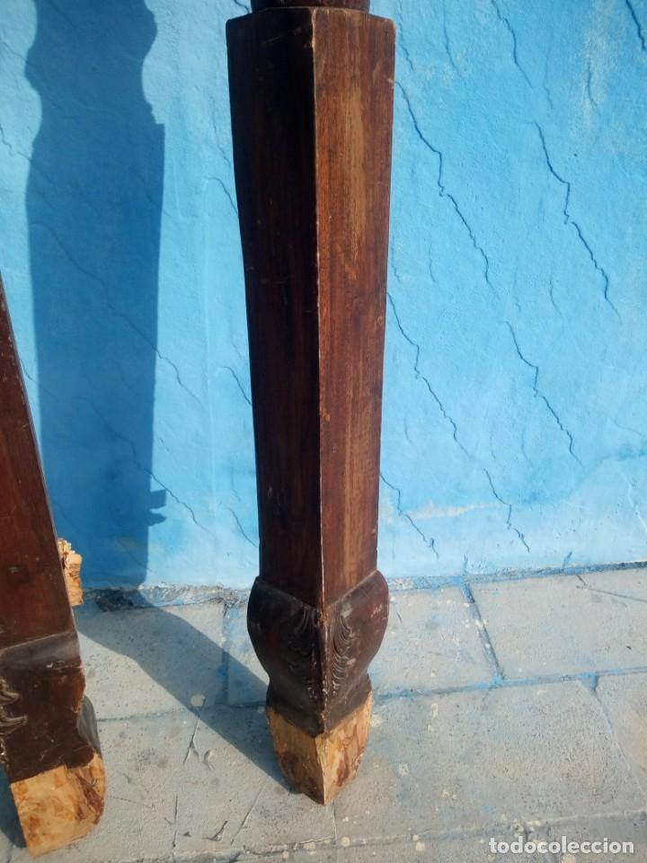 Antigüedades: lote de 2 barrotes de madera maciza de cama con dosel, siglo xix,ideal decoraciones. - Foto 6 - 160027014