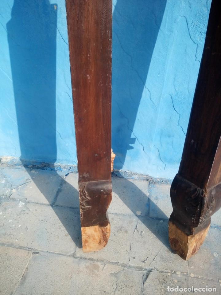 Antigüedades: lote de 2 barrotes de madera maciza de cama con dosel, siglo xix,ideal decoraciones. - Foto 7 - 160027014