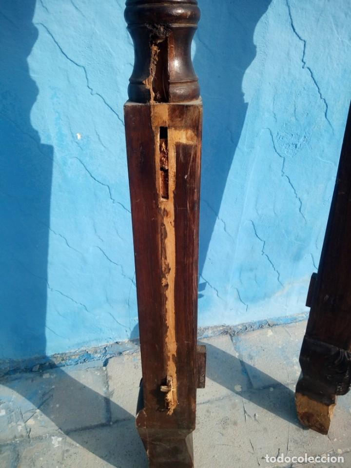 Antigüedades: lote de 2 barrotes de madera maciza de cama con dosel, siglo xix,ideal decoraciones. - Foto 8 - 160027014