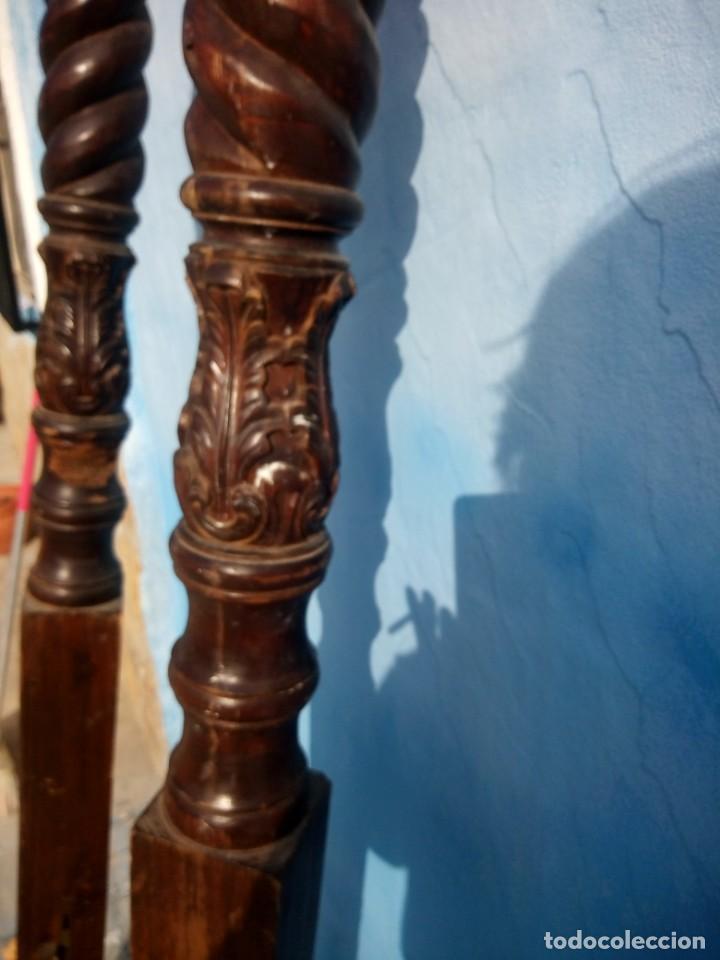 Antigüedades: lote de 2 barrotes de madera maciza de cama con dosel, siglo xix,ideal decoraciones. - Foto 12 - 160027014