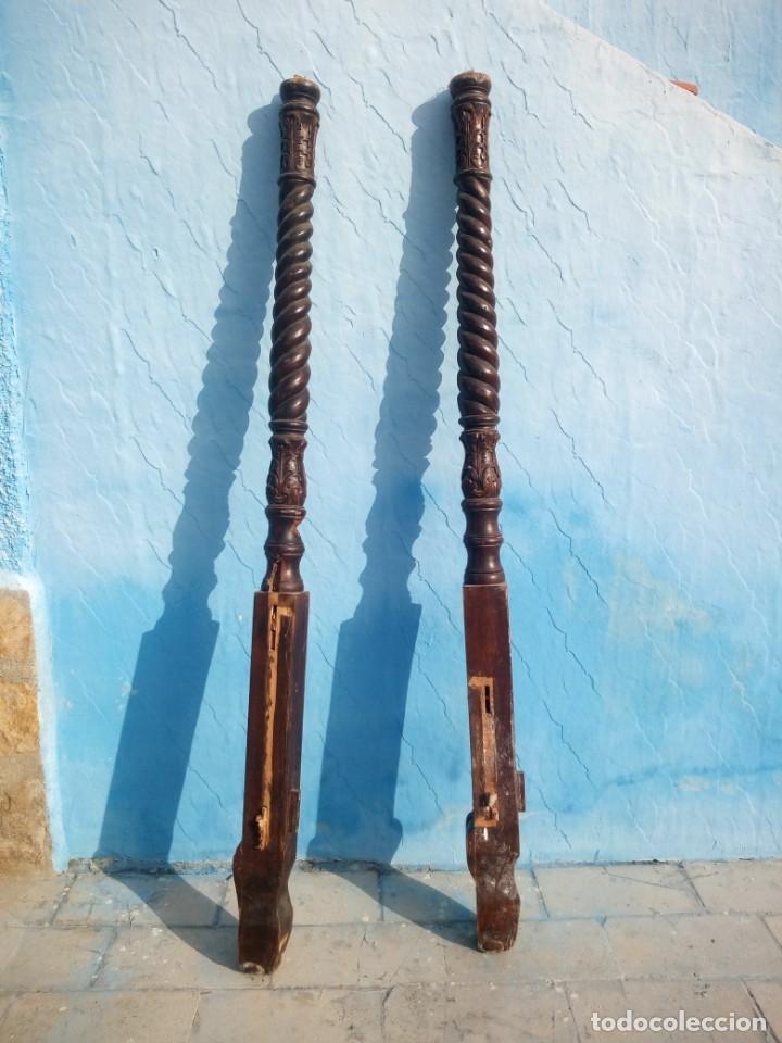 Antigüedades: lote de 2 barrotes de madera maciza de cama con dosel, siglo xix,ideal decoraciones. - Foto 16 - 160027014