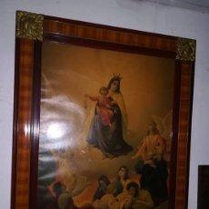 Antigüedades: EXCEPCIONAL CUADRO FLOR LATON ESQUINA ANTIGUO LAMINA ENMARCADA VIRGEN DEL CARMEN (1ª MITAD S. XX). Lote 160143670