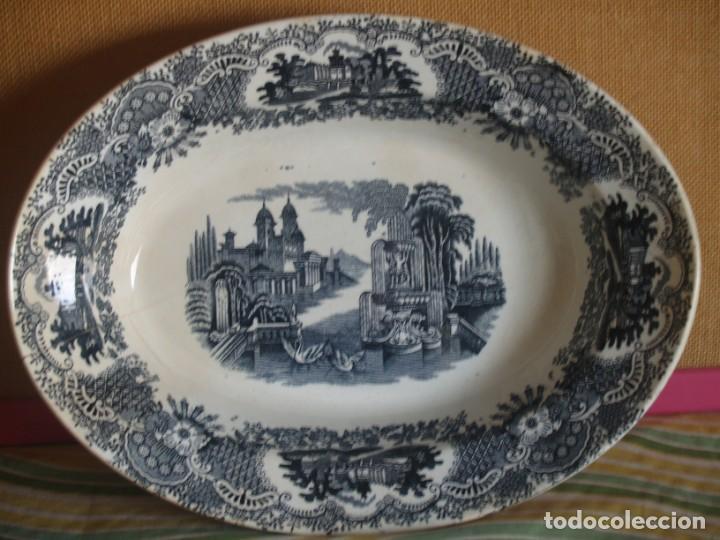 FUENTE OVALADA GRANDE DE PICKMAN S.A. SEVILLA CARTUJA (Antigüedades - Porcelanas y Cerámicas - La Cartuja Pickman)