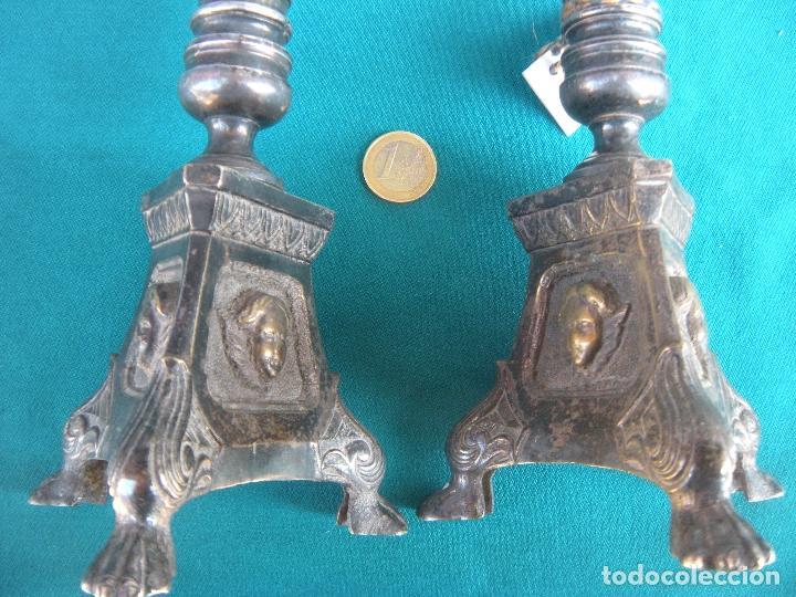 Antigüedades: PAREJA DE CANDELEROS CANDELABROS - Foto 3 - 160198034