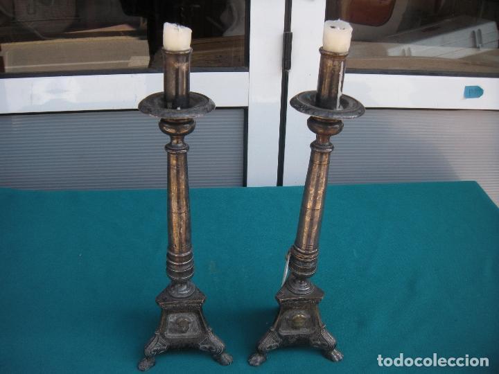 Antigüedades: PAREJA DE CANDELEROS CANDELABROS - Foto 6 - 160198034