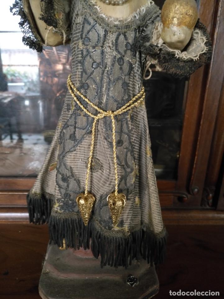 Antigüedades: espectacular cordon fajin cingulo para niño jesus o virgen orfebreria filigrana y cordon oro fino - Foto 3 - 207526612