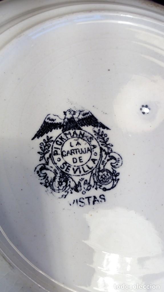 Antigüedades: VAJILLA EN LOZA ESMALTADA PICKMAN. LA CARTUJA DE SEVILLA. RIBETES AL ORO FINO. PRIMER TERCIO S. XX. - Foto 4 - 160261758