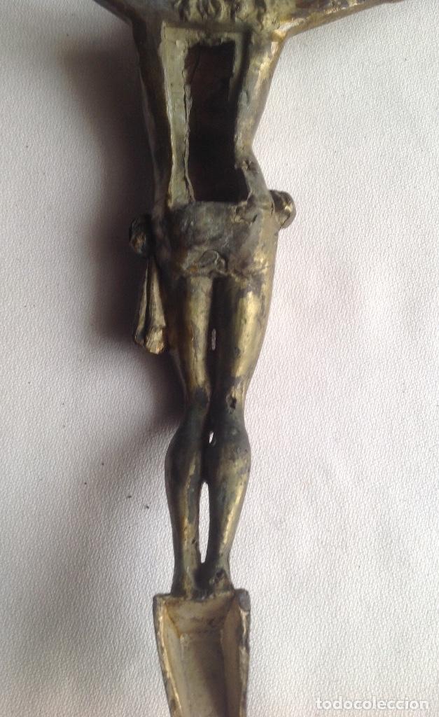 Antigüedades: ANTIGUO CRISTO EN METAL DORADO MEDIDAS APROX. 22x19 - Foto 7 - 160283234