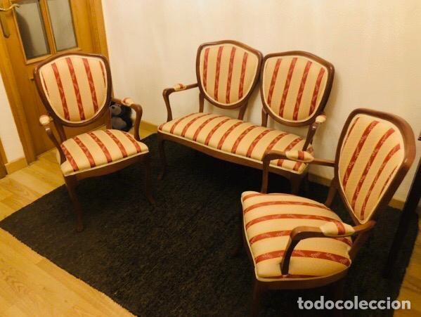 TRESILLO TAPIZADO MADERA HAYA (Antigüedades - Muebles Antiguos - Sofás Antiguos)