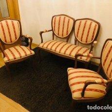 Antigüedades: TRESILLO TAPIZADO MADERA HAYA. Lote 160299202