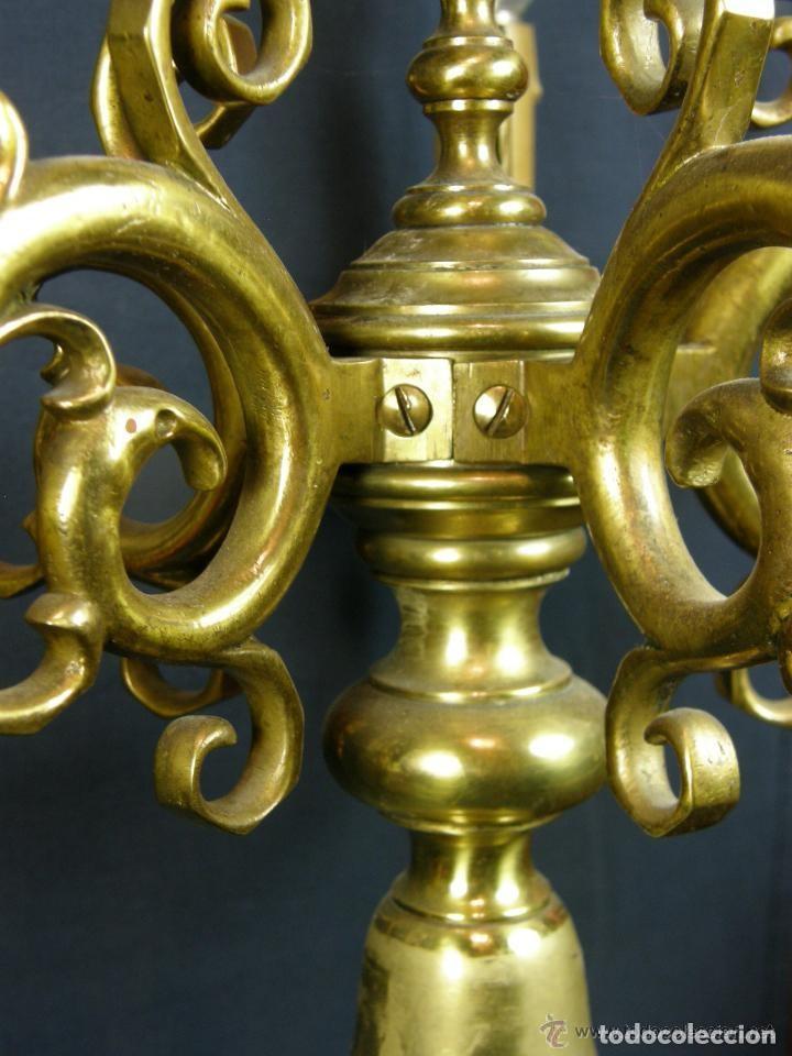 Antigüedades: PRECIOSOS CANDELABROS BRONCE - Foto 4 - 160313078