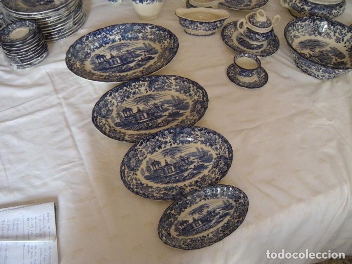Antigüedades: VAJILLA LA CARTUJA COLOR AZUL - Foto 2 - 160316226