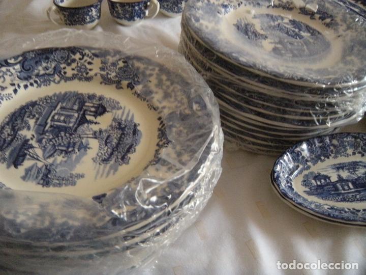 Antigüedades: VAJILLA LA CARTUJA COLOR AZUL - Foto 3 - 160316226